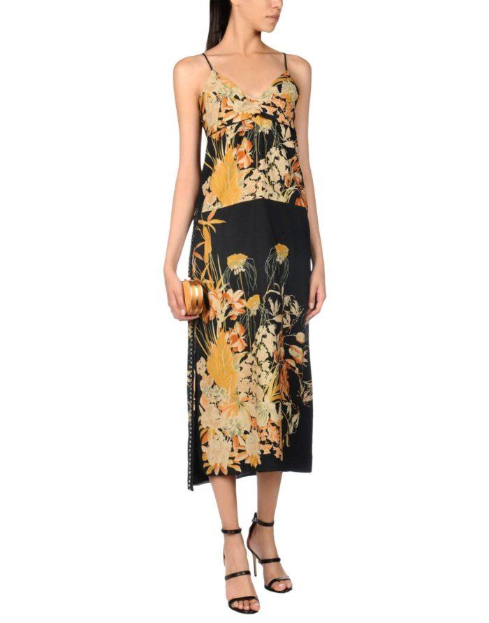 Модные сеты: с длинным платьем с принтом на бретелях