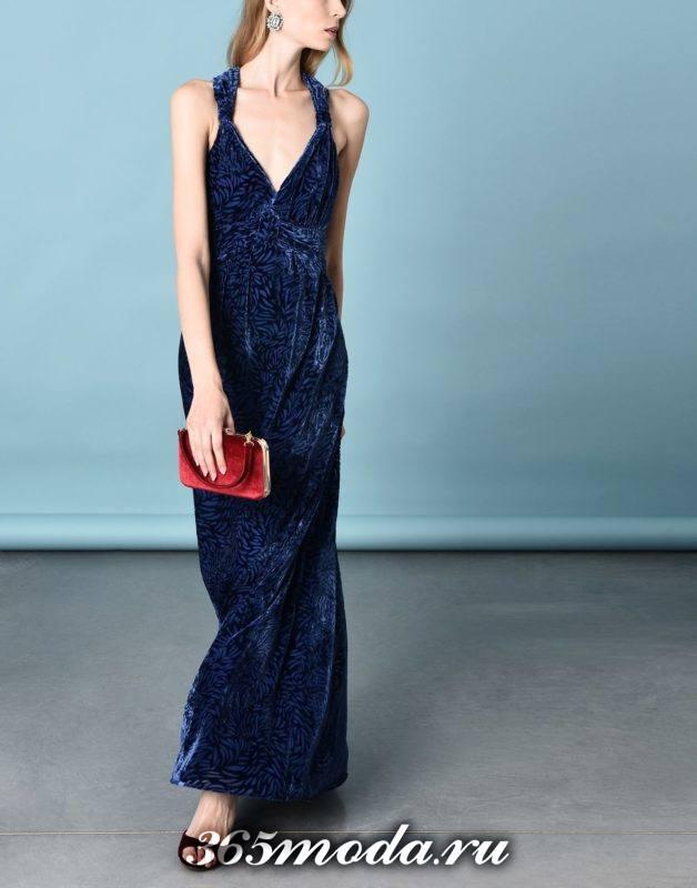 сет с длинным синим платьем