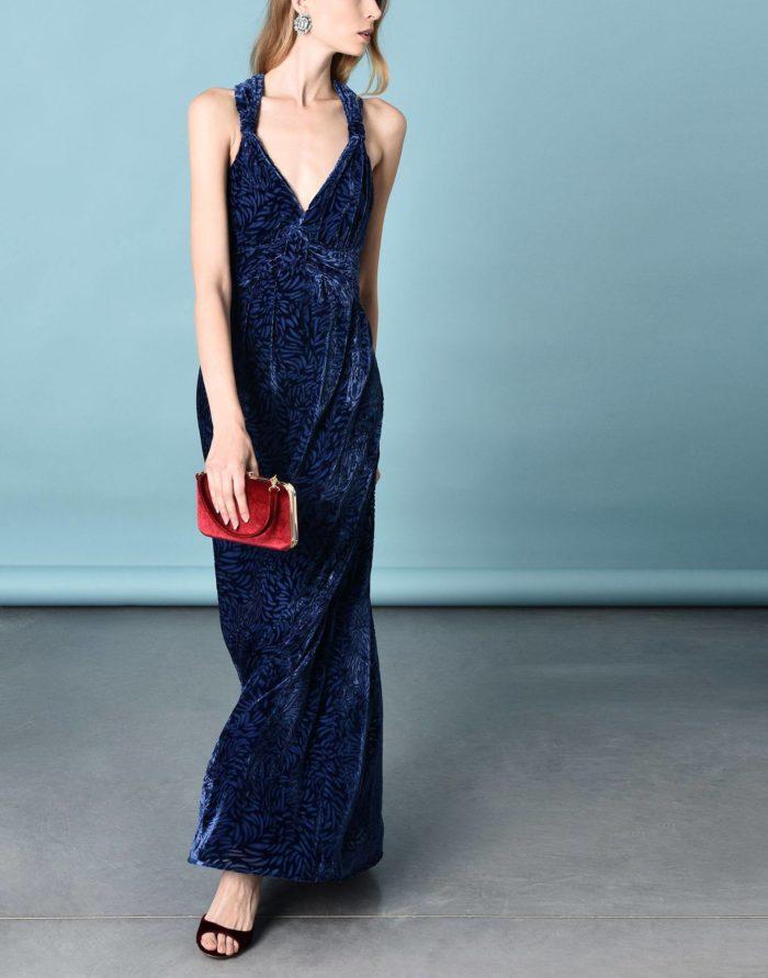 Модные сеты: с длинным синим платьем