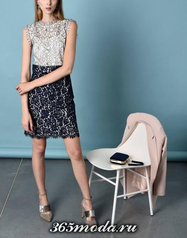 сет с кружевным коротким платьем