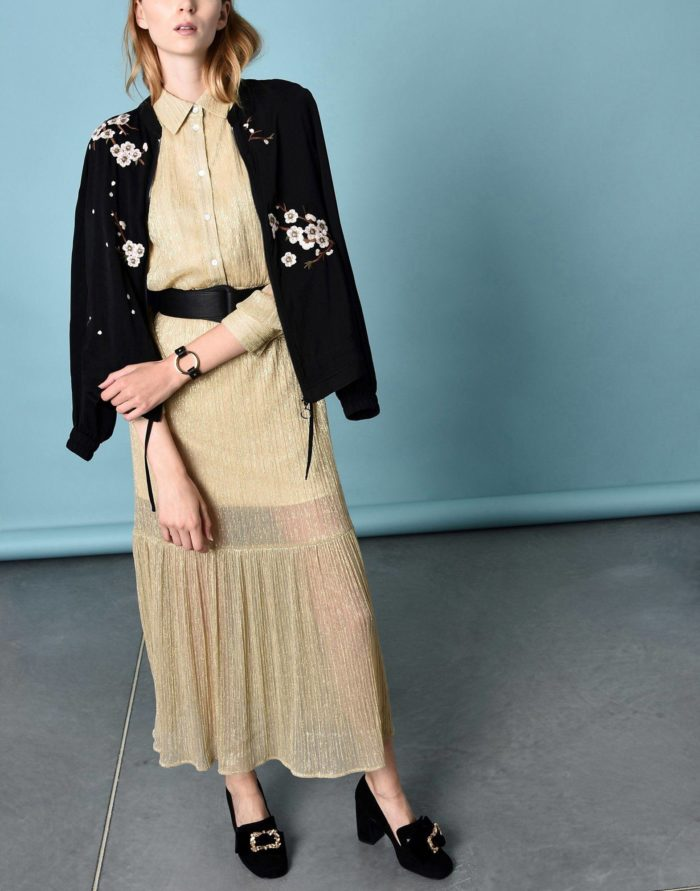 Модные сеты: с длинным бежевым платьем