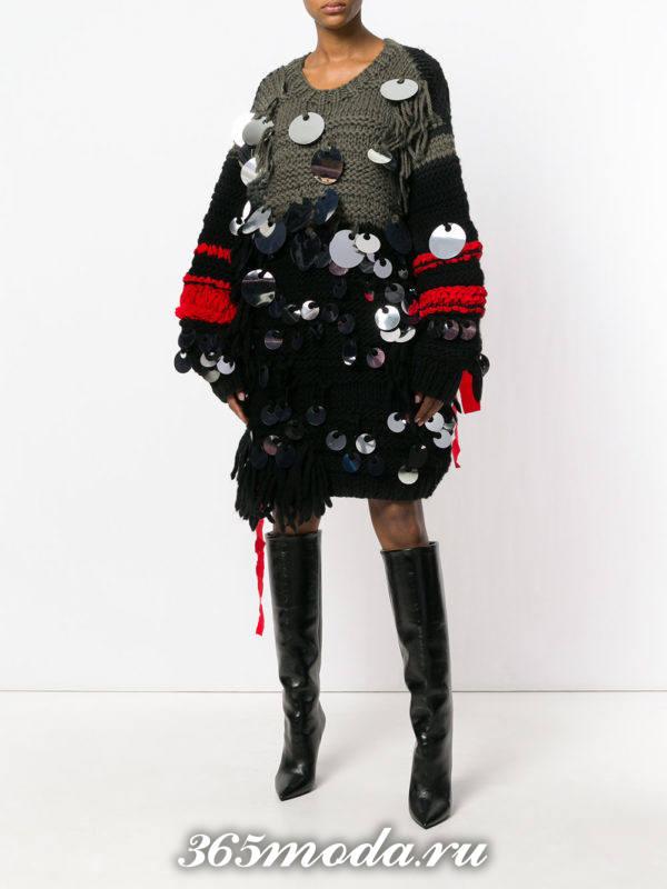 сет с платьем-свитером оверсайз с декором