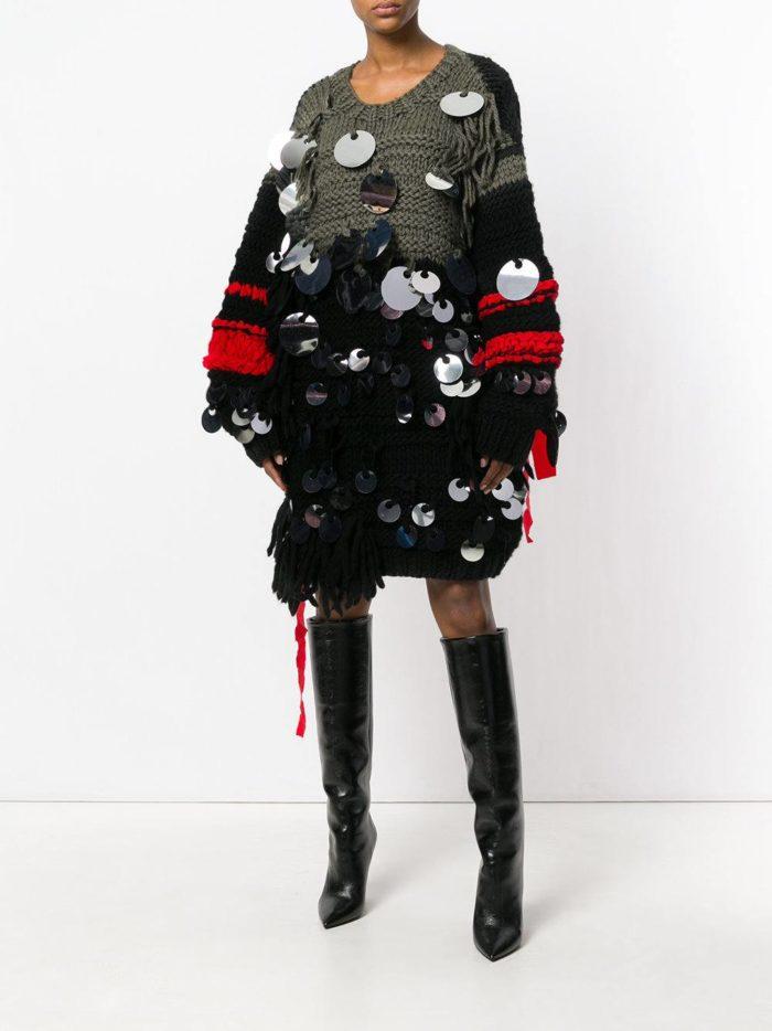 Модные сеты 2019-2020: с платьем-свитером оверсайз с декором