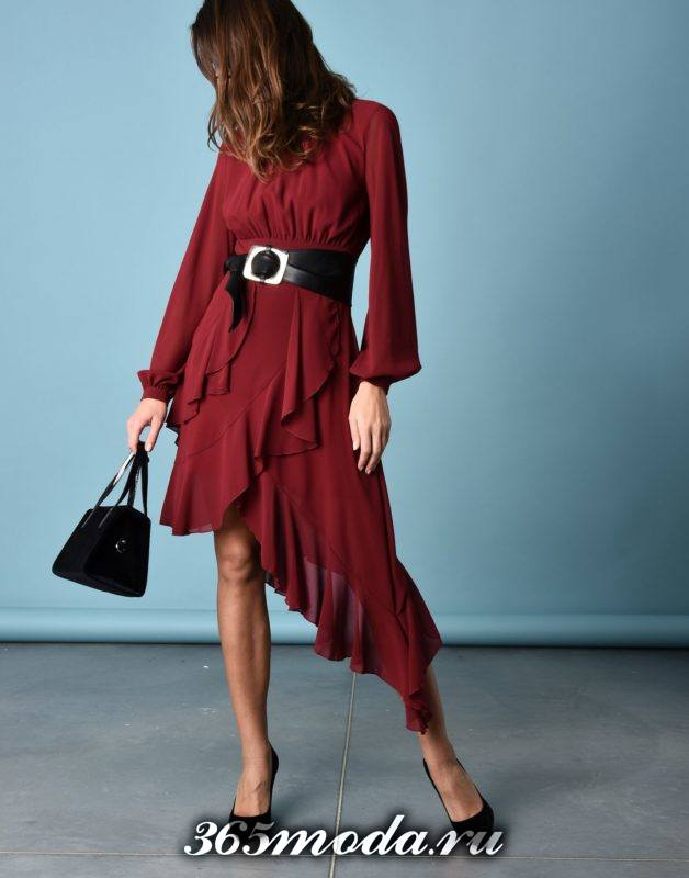 сет с асимметричным платьем с оборками
