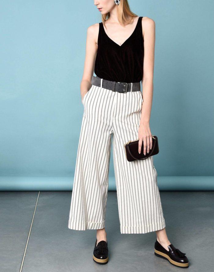 Модные сеты: с брюками кюлотами в полоску