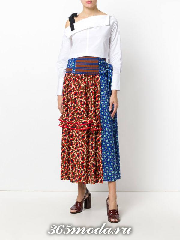 сет с длинной комбинированой юбкой с принтом