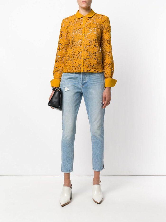 Модный сет: с желтой кружевной блузой
