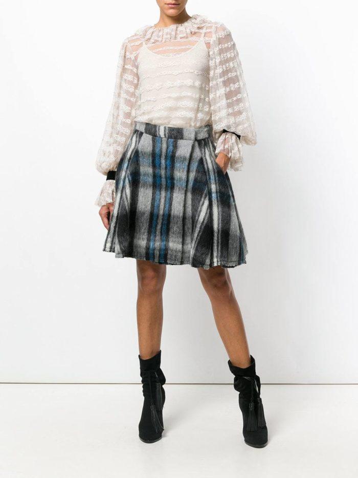 Модный сет: с прозрачной блузой с пышными рукавами