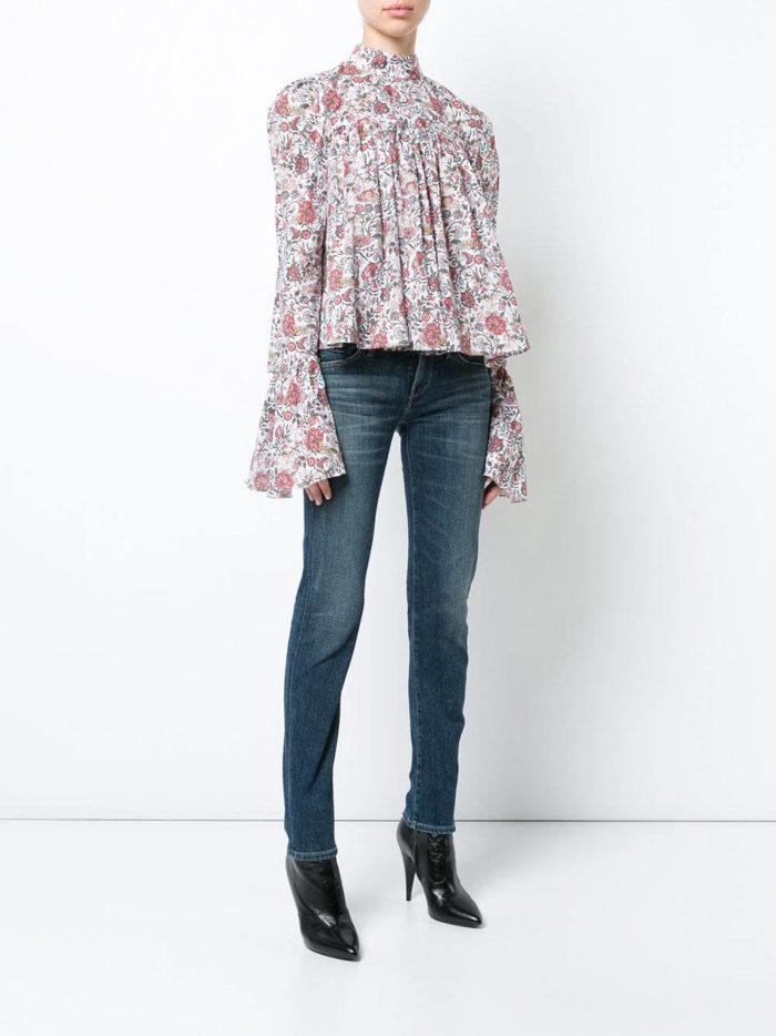 Модный сет: с блузой с принтом и рукавами клеш