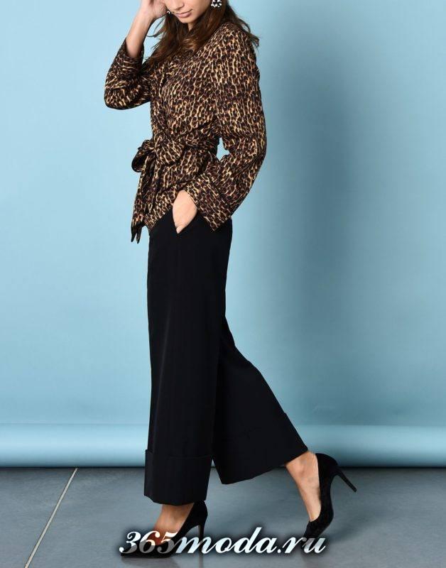 сет с леопардовой блузой с поясом