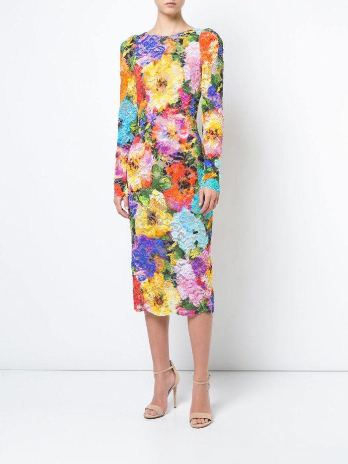 Модные сеты 2019-2020: с кружевным платьем футляр с цветочным принтом
