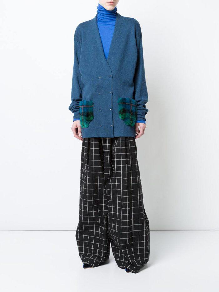 Модный сет: с удлиненным кардиганом с меховыми карманами