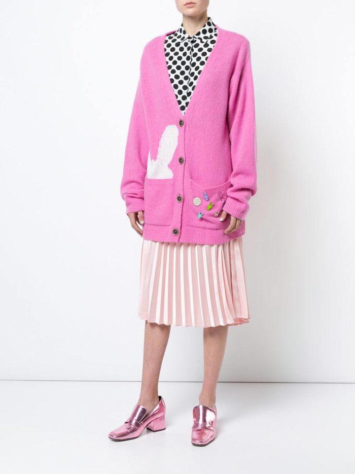 Модный сет: с розовым удлиненным кардиганом с рисунком