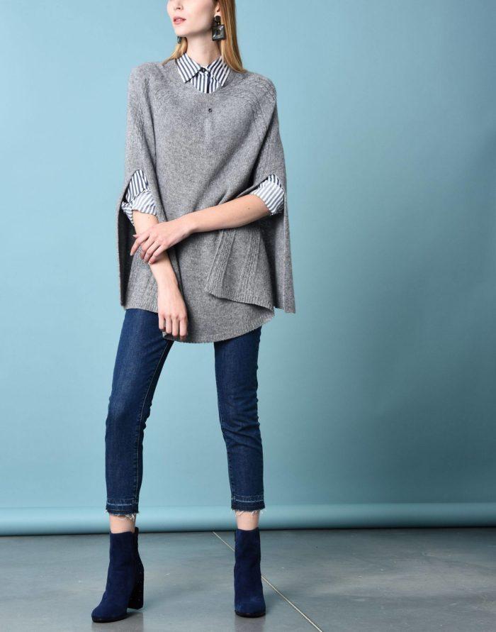Модный сет: с серым вязаным пончо