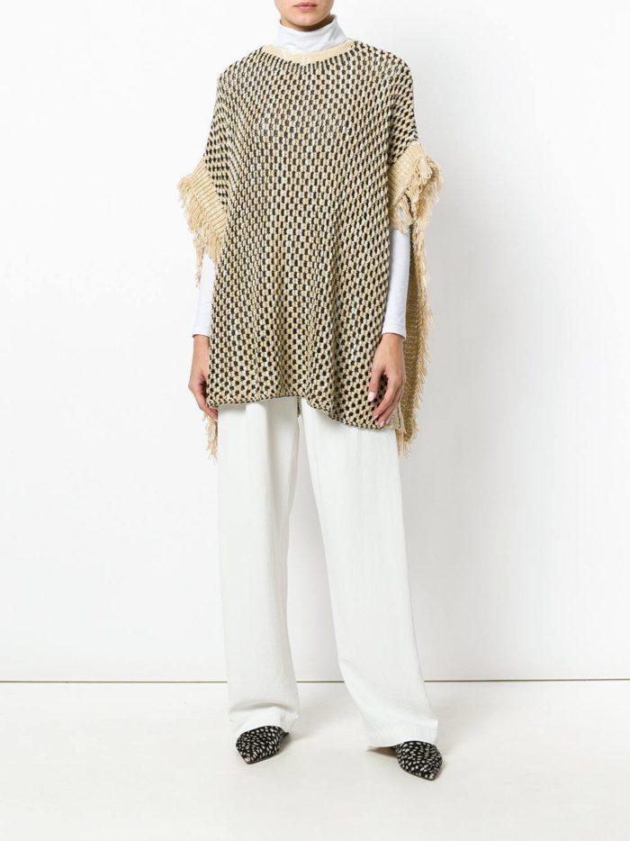 Модный сет: с пончо с принтом и бахромой