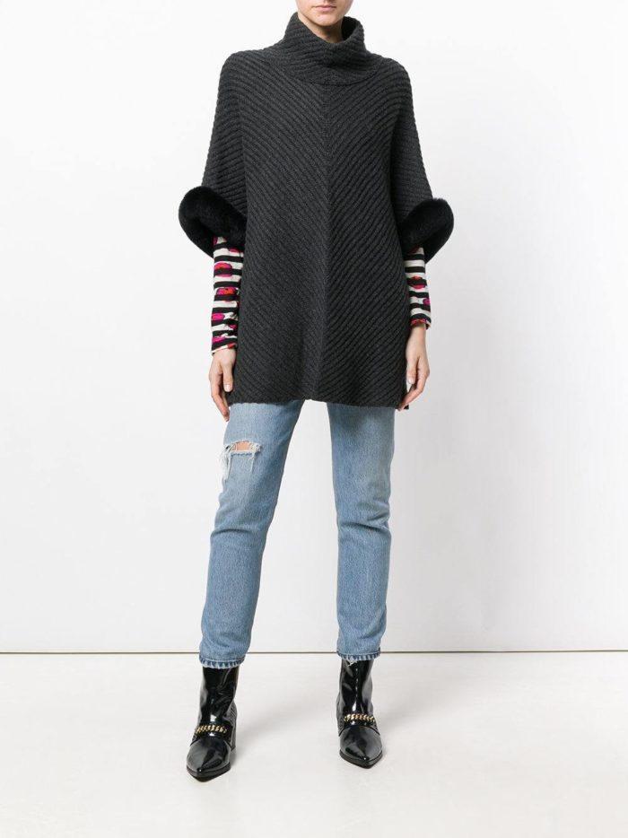 Модный сет: с темным пончо с мехом