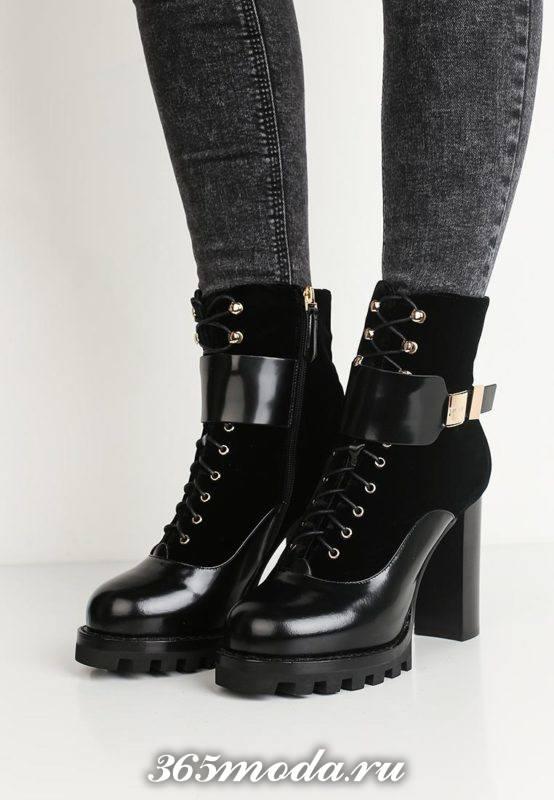 комбинированные ботинки на тракторной подошве со шнурками