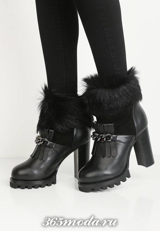 черные ботинки на тракторной подошве с мехом