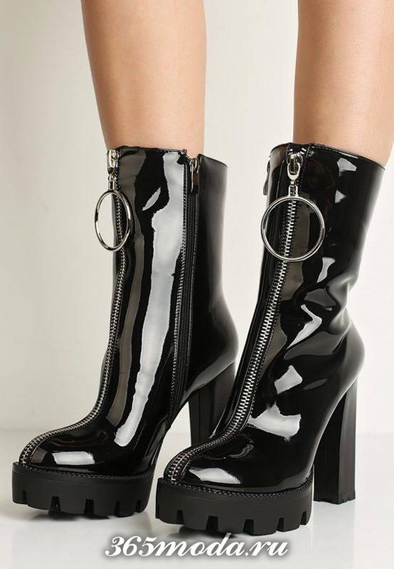 лаковые ботинки на тракторной подошве с молнией