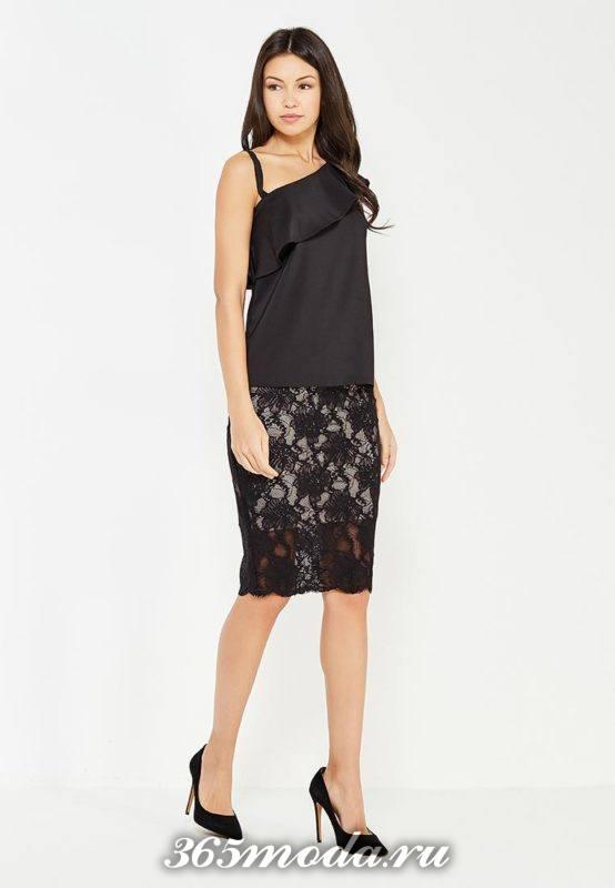 гипюровая черная юбка карандаш с топом с оборкой с чем носить