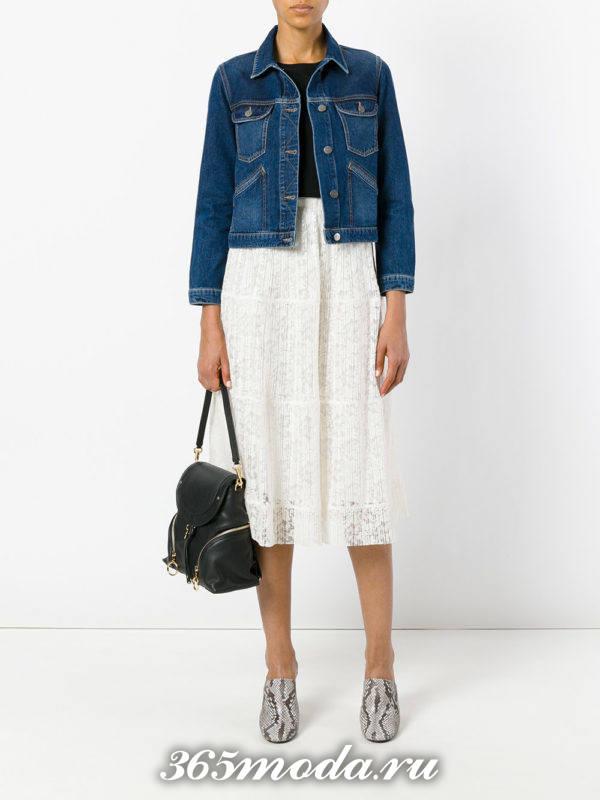 гипюровая белая юбка полусолнце с джинсовой курткой с чем носить