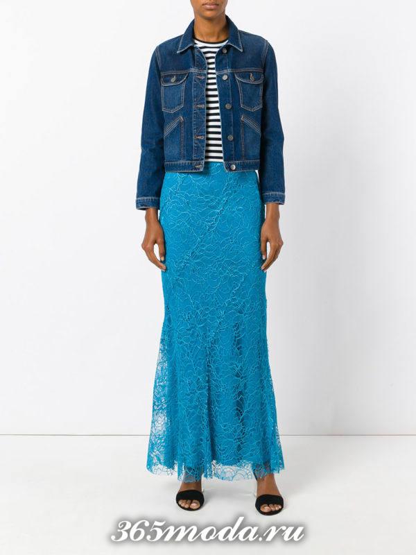 длинная синяя гипюровая юбка с джинсовой курткой с чем носить