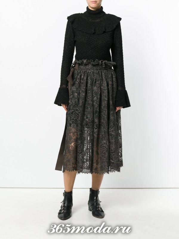 гипюровая миди юбка клеш с черным свитером с чем носить