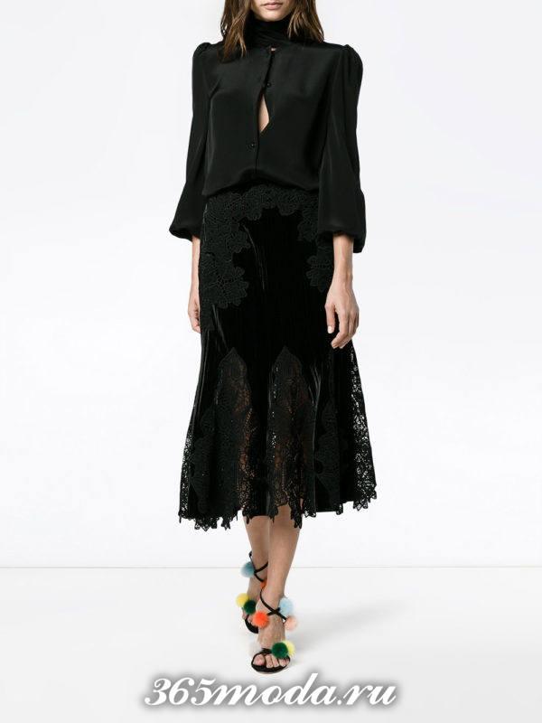 бархатная юбка годе с гипюровыми вставками с черной блузой с чем носить