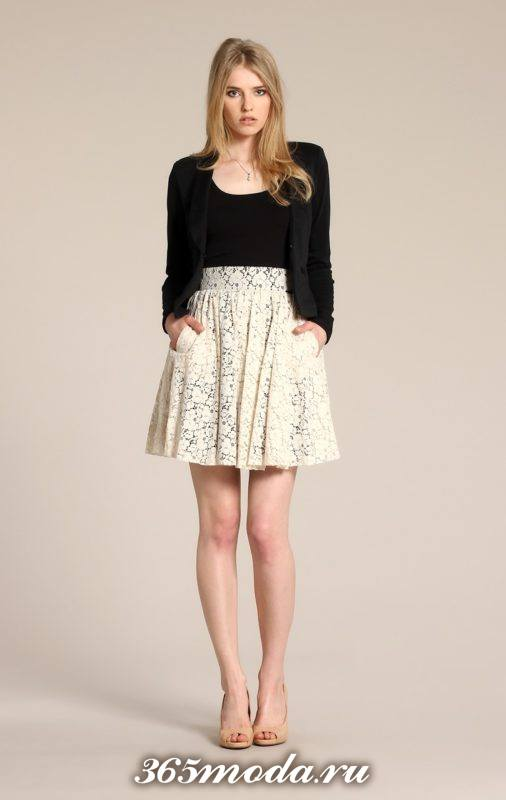 светлая гипюровая юбка клеш с черным кардиганом с чем носить