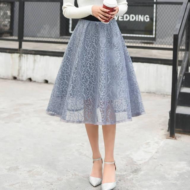 гипюровая голубая юбка пачка с чем носить