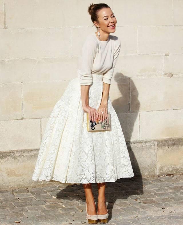 гипюровая белая юбка пачка с белой блузой с чем носить