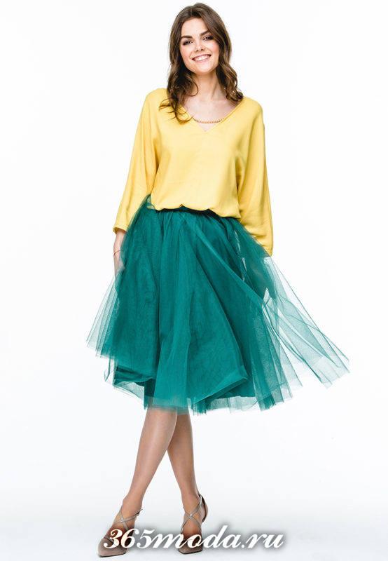 с чем носить зеленую юбку пачку с желтой блузой