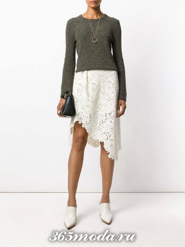 асимметричная гипюровая юбка с оливковым свитером с чем носить