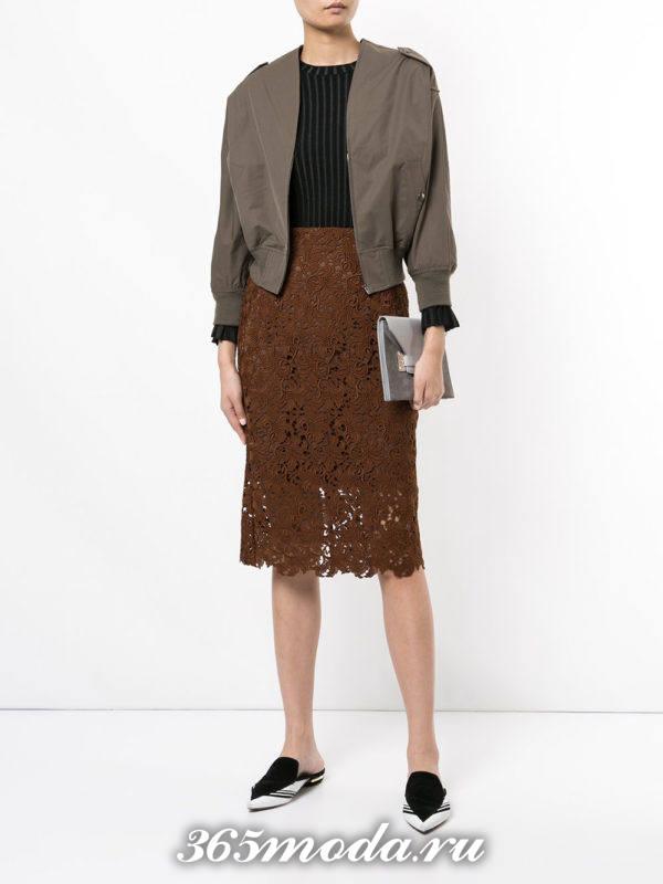 коричневая гипюровая юбка карандаш с бомбером с чем носить