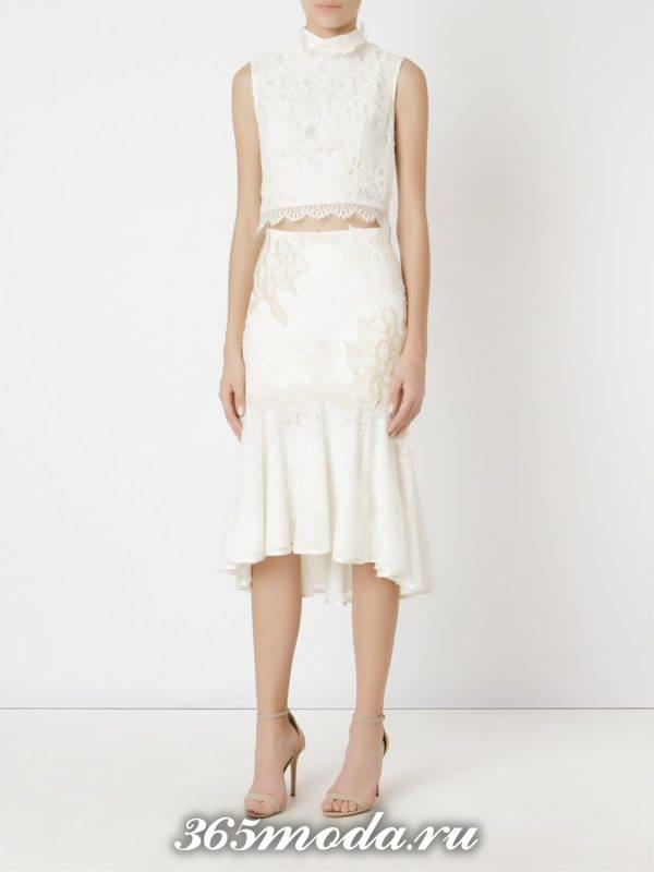 с чем носить белую гипюровую юбку годе с кружевным коротким топом