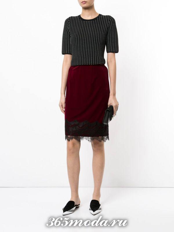 бархатная юбка карандаш с гипюровыми вставками с вязаным топом с чем носить