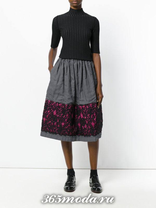 юбка миди с гипюровыми вставками с гольфом с короткими рукавами с чем носить