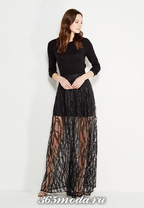 с чем носить длинную черную гипюровую юбку с черным топом