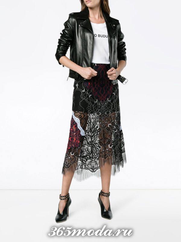 гипюровая юбка миди с декором с кожаной курткой с чем носить