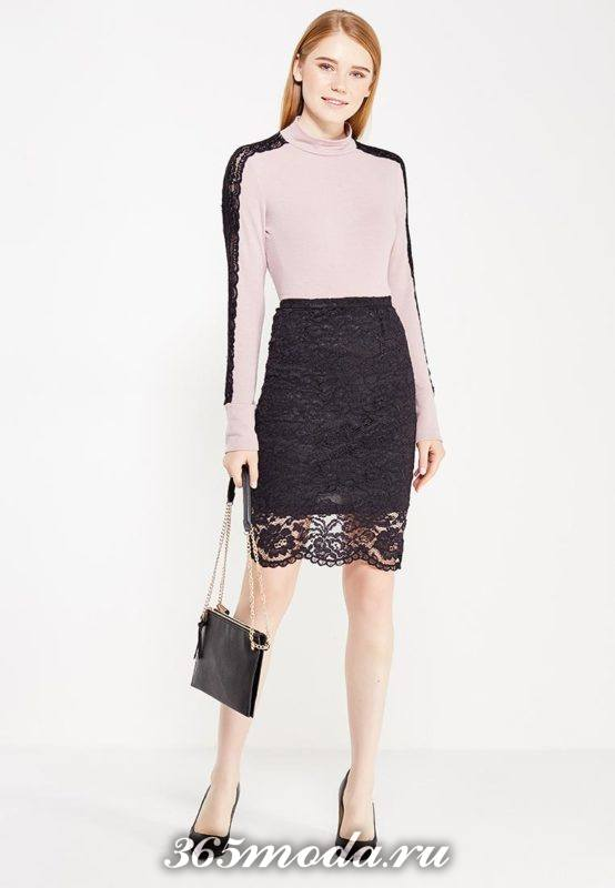 черная гипюровая юбка карандаш с гольфом с кружевной полоской с чем носить