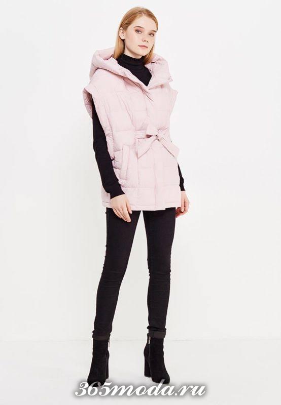 розовый спортивный удлиненный жилет без рукавов с брюками