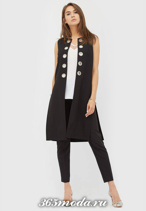 черный деловой удлиненный жилет без рукавов с чем носить