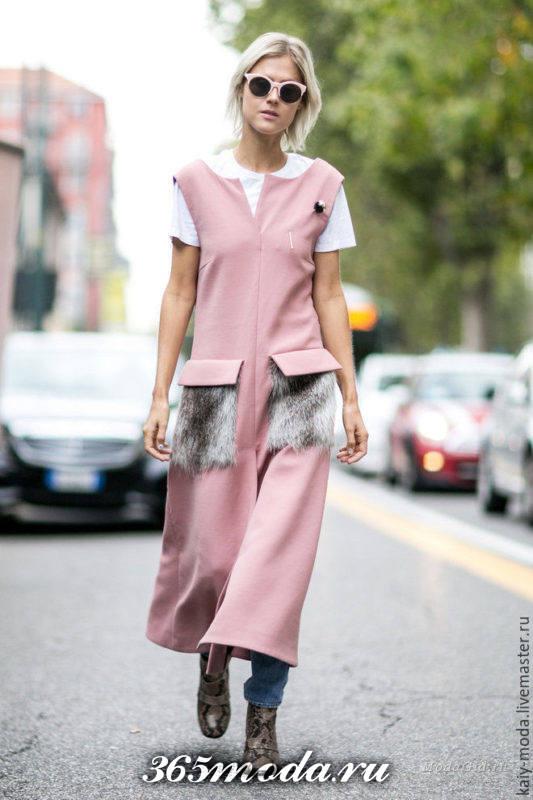 удлиненный жилет без рукавов с меховыми карманами розовый каждодневный