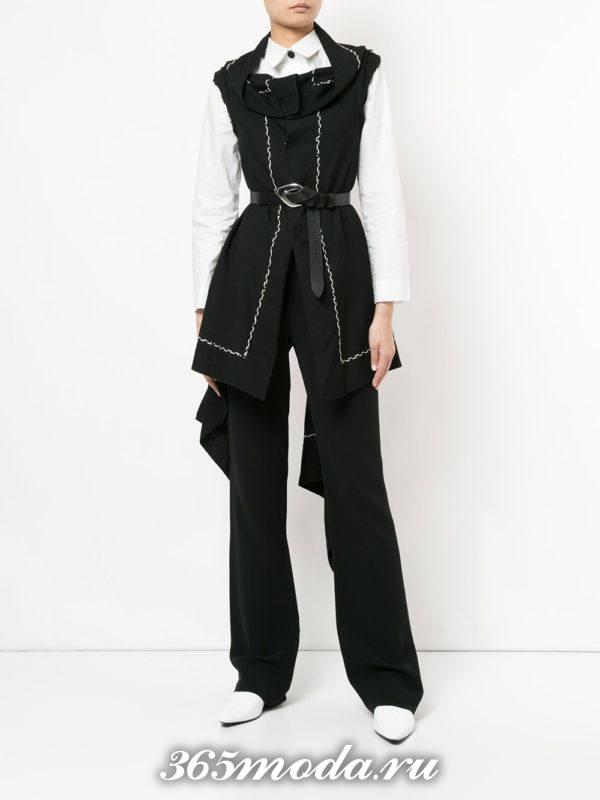 удлиненный жилет без рукавов асимметричный с поясом с чем носить