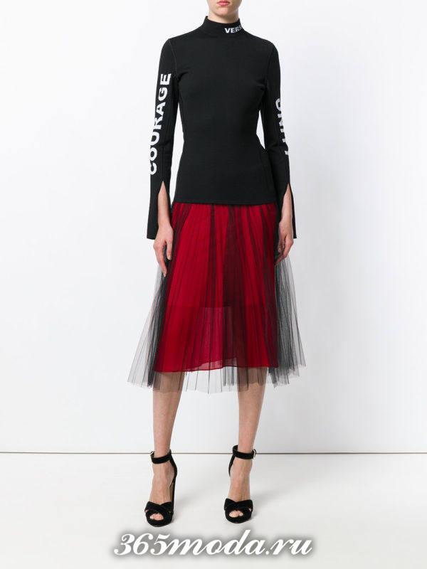юбка плиссе миди красная с фатином