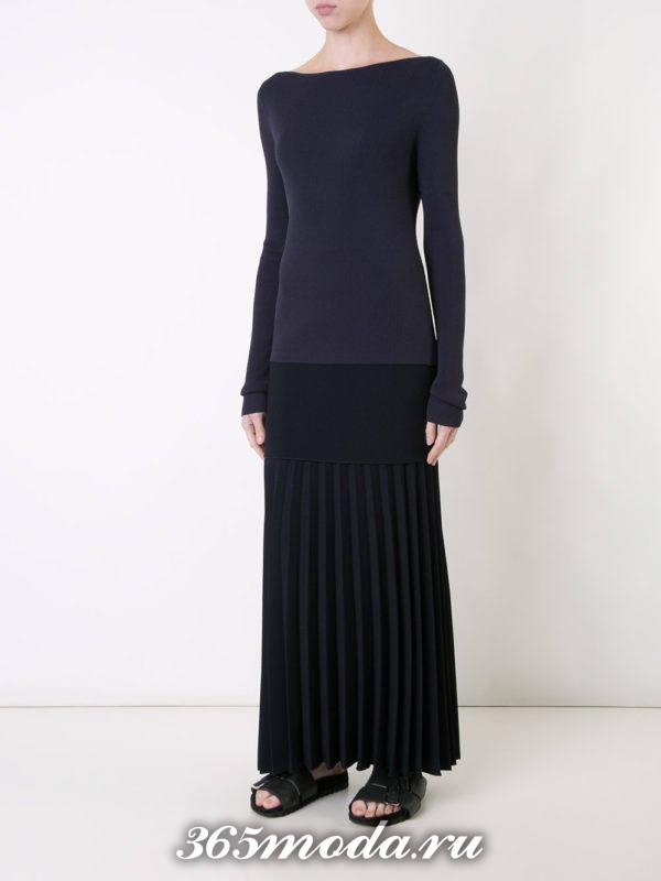длинная черная юбка плиссе