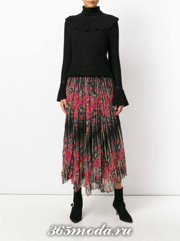 длинная юбка плиссе с принтом