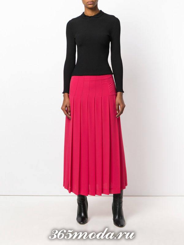 длинная юбка плиссе розовая