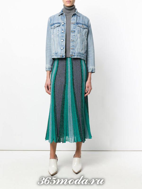 длинная юбка плиссе двухцветная