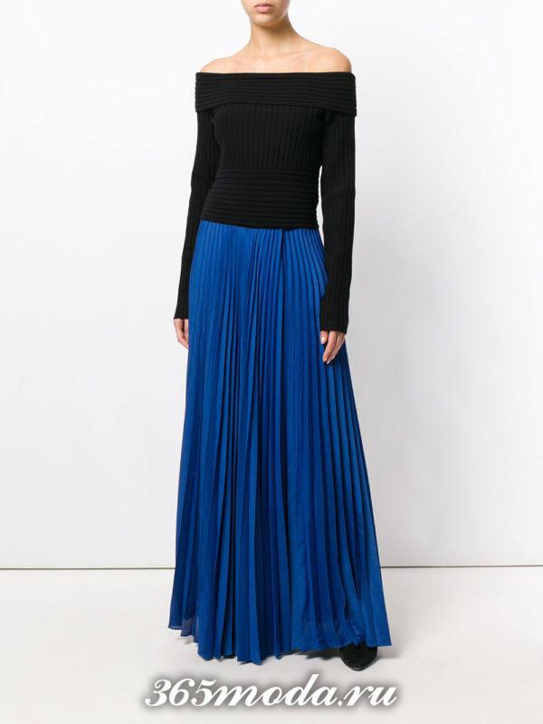 длинная юбка плиссе синяя